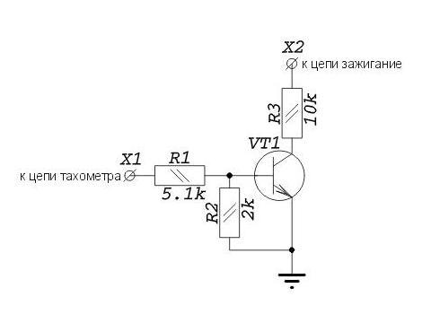 """Х1 - к АБС, Х2 - к цепи  """"зажигание """", коллектор транзистора к проводу  """"скорость """" БК. коллектор без стрелочки."""
